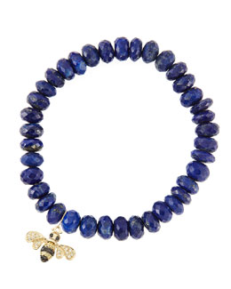 Sydney Evan 8mm Faceted Lapis Beaded Bracelet with 14k Gold/Diamond Small Bee Charm (Made to Order)
