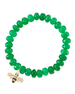 Sydney Evan 8mm Faceted Green Onyx Beaded Bracelet with 14k Gold/Diamond Small Bee Charm (Made to Order)