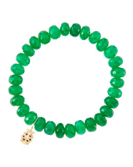 Sydney Evan 8mm Faceted Green Onyx Beaded Bracelet with 14k Gold/Diamond Medium Ladybug Charm (Made to Order)