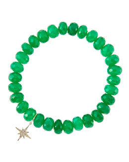 Sydney Evan 8mm Faceted Green Onyx Beaded Bracelet with 14k Gold/Diamond Small Starburst Charm (Made to Order)