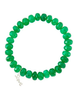 Sydney Evan 8mm Faceted Green Onyx Beaded Bracelet with 14k White Gold/Diamond Small Love Charm (Made to Order)