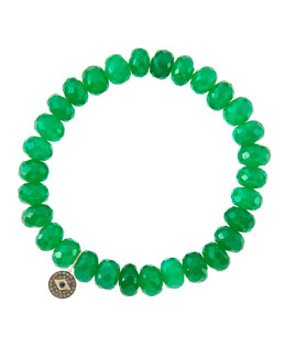 Sydney Evan 8mm Faceted Green Onyx Beaded Bracelet with 14k Gold/Diamond Round Evil Eye Charm (Made to Order)