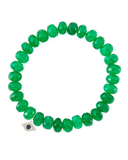 Sydney Evan 8mm Faceted Green Onyx Beaded Bracelet with 14k White Gold/Diamond Small Evil Eye Charm (Made to Order)