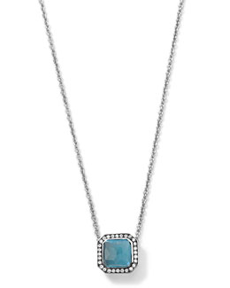 Ippolita Silver Stella London Blue Topaz Pendant Necklace with Diamonds