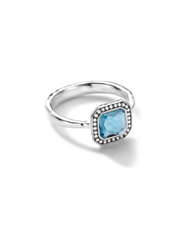Ippolita Sterling Silver Stella Square London Blue Topaz Ring with Diamonds