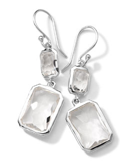 Ippolita Sterling Silver Wonderland Rectangular Mini-Drop Earrings in Clear Quartz