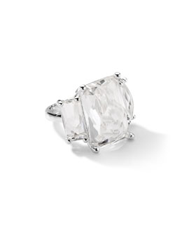 Ippolita Sterling Silver 3-Stone Large Rectangle Cocktail Ring in Clear Quartz