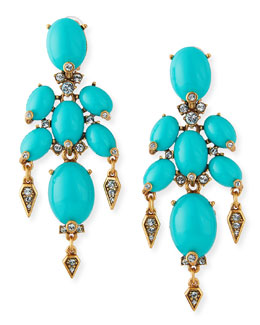 Oscar de la Renta Oval Cabochon Clip-On Earrings, Aqua