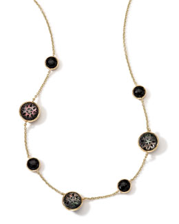 Ippolita 18K Gold Polished Rock Candy Cutout Stone 7-Station Necklace in Phantom, 16-18""
