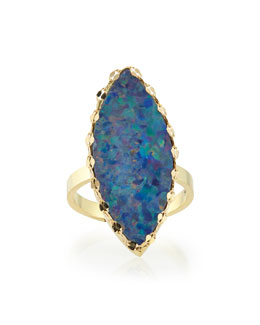 Lana Frosted Boulder Opal Ring with Chain Detail
