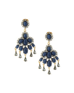 Oscar de la Renta Cabochon Chandelier Earrings, Navy