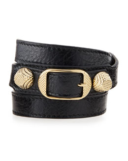 Balenciaga Arena Leather Wrap Bracelet, Black