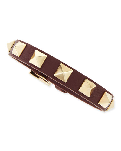 Small Rockstud Leather Buckled Bracelet, Wine
