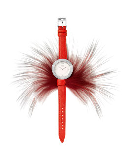 Fendi Timepieces Fendi My Way Watch with Removable Fur Glamy, Red/Steel