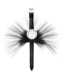 Fendi Timepieces My Way Watch with Removable Fur Glamy, Black/Steel