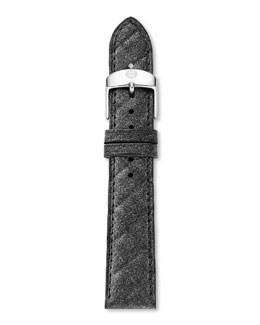 MICHELE 16mm Quilted Leather Strap, Steel Blue