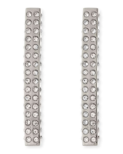 Lia Crystal Bar Earrings, Silvertone