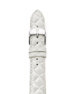 MICHELE 18mm Quilted Leather Strap, White