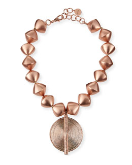 Nest 18k Rose Gold-Plated Beaded Pendant Necklace
