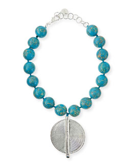 Nest Blue Jasper Bead Necklace with Silver Pendant