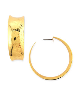 Nest Hammered Gold-Plated Hoop Earrings