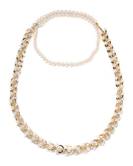 Eddie Borgo Orbiting Pearl Chain Long Necklace, 40""