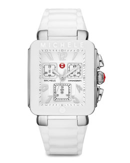 MICHELE Park Jelly Bean Watch, White/Stainless Steel