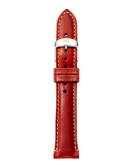 MICHELE 18mm Leather Watch Strap, Red/Tan