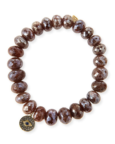 8mm Faceted Brown Silverite Beaded Bracelet with 14k Diamond Evil Eye Disc Charm