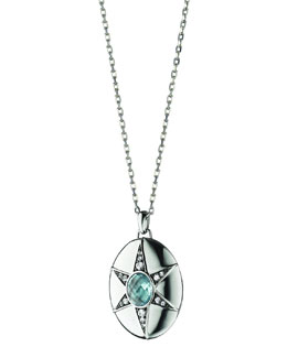 Monica Rich Kosann Blue Topaz & White Sapphire Locket Necklace, 32""