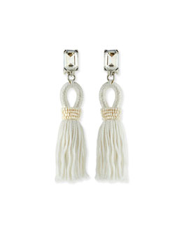 Oscar de la Renta Short Swarovski® Crystal Loop Tassel Earrings
