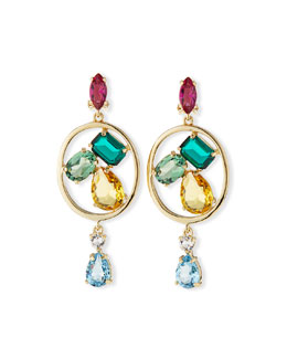 Oscar de la Renta Multicolor Swarovski® Crystal Drop Clip Earrings