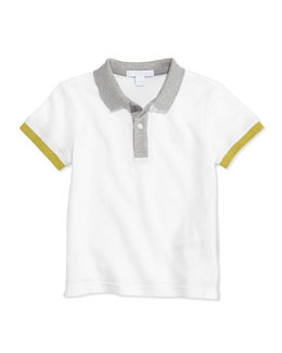 Burberry Colorblock Pique Polo, White, 4Y-10Y