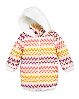Missoni Zigzag Long Puffer Coat, Multi, Sizes 2-10