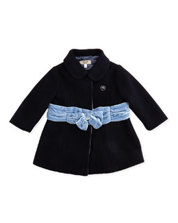Armani Junior Felted Wool Dress Coat with Velvet Bow, True Blue, 3-24 Months