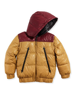Little Marc Jacobs Boys' Reversible Puffer Jacket, Red/Yellow, Sizes 2-5