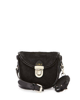 Little Marc Jacobs Girls' Calf Hair Crossbody with Mouse Charm, Black