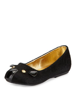 Little Marc Jacobs Calf Hair Mouse Ballerina Flat, Black