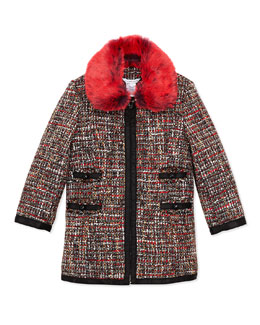 Little Marc Jacobs Girls' Tweed Coat with Faux-Fur Collar, Sizes 4-5