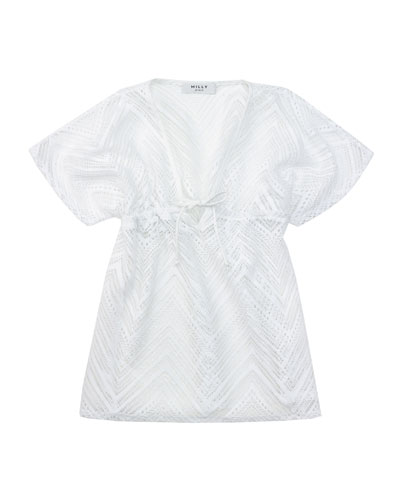 Crochet V-Neck Coverup, White, Sizes 2-7