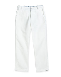 Armani Junior Rolled-Cuff Slim-Fit Pants, White, Sizes 2-8
