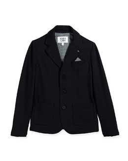 Armani Junior Stretch-Knit Blazer w/ Pocket Square, Indigo, Size 2-8