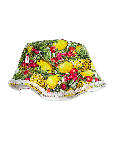Tutti Cutie Tropical-Print Swim Hat, Yellow/Multicolor