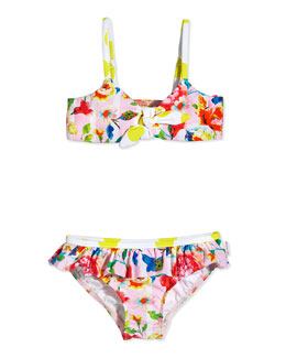 Floral-Print Two-Piece Swimsuit, Pink/Multicolor, Girls' 0-7