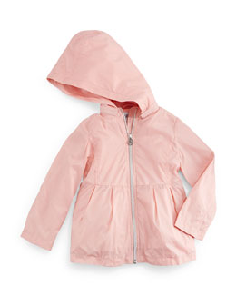 Armani Junior Pleated Hooded Jacket, Pale Pink, Size 2-8