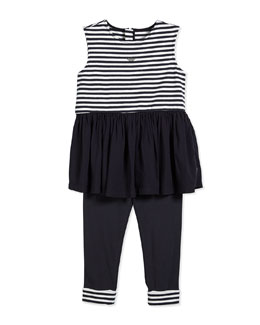 Armani Junior Two-Piece Striped Blouse & Pants, Navy/White, Size 2-8