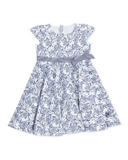 Armani Junior Floral Print Jersey Dress, Navy/White, SIze 2-8