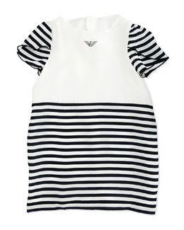Armani Junior Tulip-Sleeve Striped Dress, White/Navy, Size 2-8