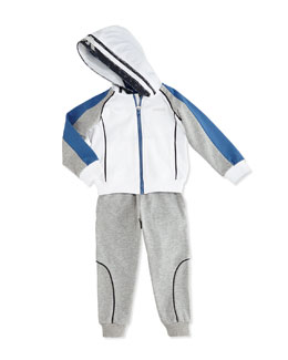 Armani Junior Two-Piece Hooded Tracksuit, Gray/White, Sizes 2-8