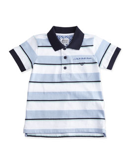 Armani Junior Short-Sleeve Striped Polo Shirt w/ Paisley Detail, Blue/White, Size 2-8